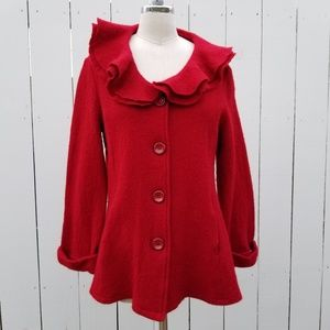 For Cynthia Red Wool Jacket Cardigan